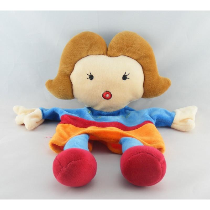Doudou Plat Marionnette Poupée Fille Bleu Orange Rouge Egmont Toys