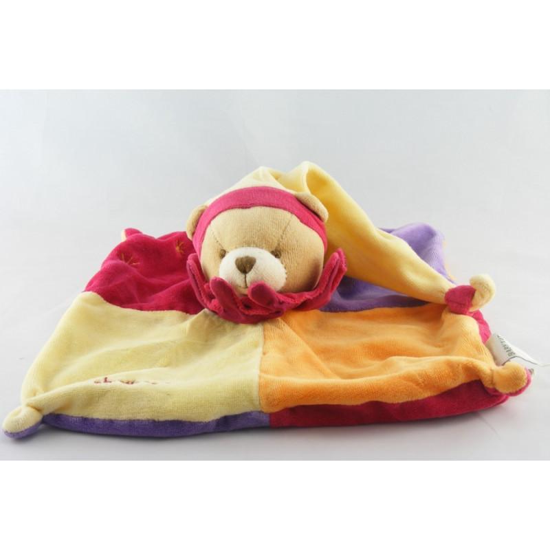 Doudou plat ours arlequin rouge jaune mauve BABY NAT
