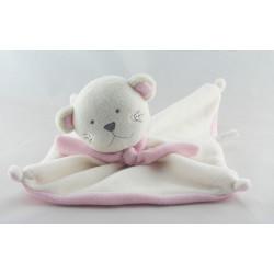 Doudou plat chat rose et blanc avec écharpe