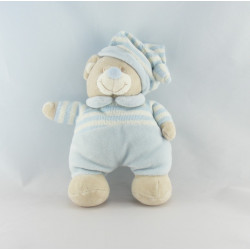 Doudou ours beige bleu rayé JOLLYBABY