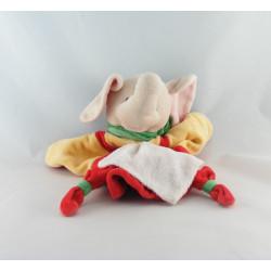 Doudou plat éléphant rouge jaune mouchoir BABY NAT