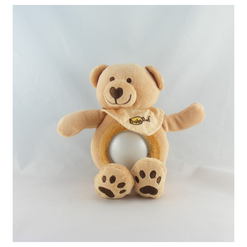 Doudou veilleuse ours beige rouge jaune BABY NAT