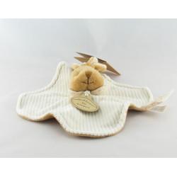 Doudou et compagnie bio plat lapin blanc marron fleur