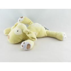 Doudou chien couché vert cocard blanc OBAIBI