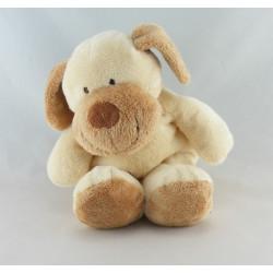 Doudou chien écru beige foulard rayé NICOTOY
