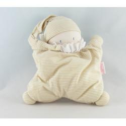 Doudou semi plat baby corolle lutin blanc rose fleurs Corolle