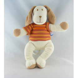 Doudou chien blanc maillot rayé orange SUCRE D'ORGE