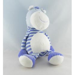 Doudou musical cheval zébre bleu rayé BABYSUN NURSERY