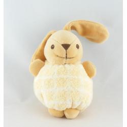 Doudou boule lapin carreaux jaune NOUNOURS