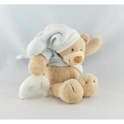 Doudou ours bleu ciel lune NATTOU avec attache