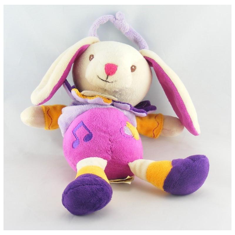 Doudou lapin mauve violet rose jaune mouchoir BABY NAT