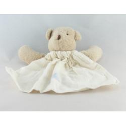 Doudou plat ours beige robe blanche TARTINE ET CHOCOLAT