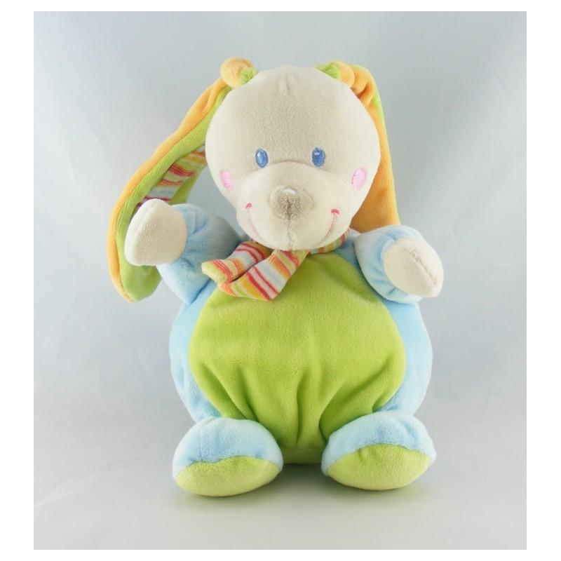 Doudou lapin vert bleu écharpe rayé MOTS D'ENFANTS