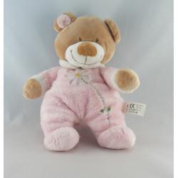 Doudou ours pyjama rose col blanc NICOTOY