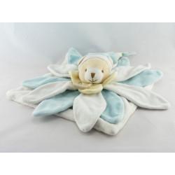 Doudou et compagnie collector ours plat pétale bleu et blanc