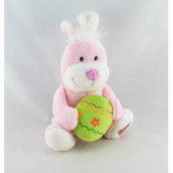 Doudou lapin blanc cloche rose GIPSY