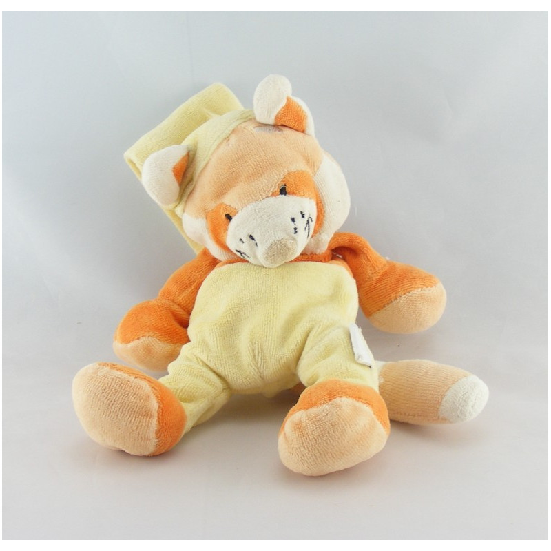 Doudou chat renard orange jaune avec bonnet AUCHAN