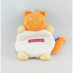 Doudou plat mouchoir rayé chat roux orange Sucre d'orge