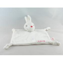 Doudou lapin blanc salopette rouge GUIGOZ