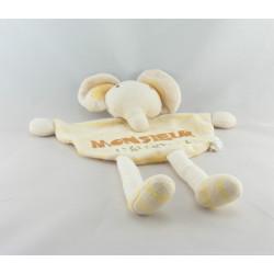 Doudou plat éléphant beige trèfles BABY CLUB