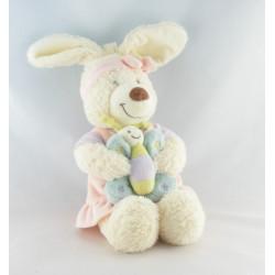 Doudou musical lapin blanc robe rose papillon TEX BABY