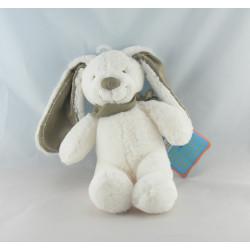 Doudou plat lapin blanc bandanas gris TEX BABY