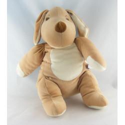 Doudou chien marron beige collier rouge SUCRE D'ORGE