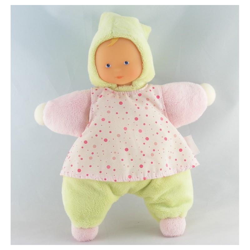 Doudou poupée bébé robe rose à pois COROLLE