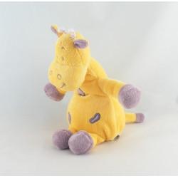 Doudou vache girafe jaune coeur violet INFLUX