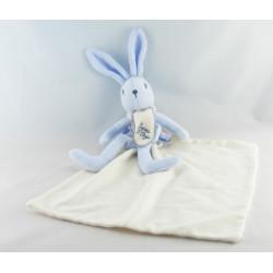 Doudou lapin bleu mouchoir ours brodés SUCRE D'ORGE