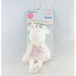 Doudou plat cerf renne blanc rayé rose SUCRE D'ORGE