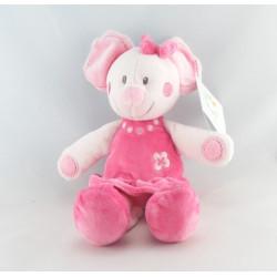 Doudou Mimi la souris robe rose fleur NICOTOY KIABI