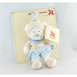 Doudou ours blanc tenue bleu beige bonnet beige NICOTOY