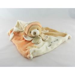 Doudou et compagnie plat ours douvelours beige orange feuille