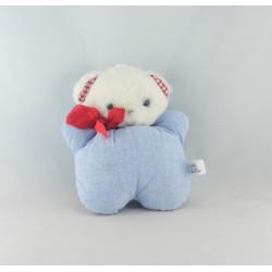 Doudou plat ours bleu bavoir DMC