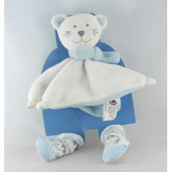 Doudou plat ours chat bleu et blanc avec écharpe SERGEI SOCKS