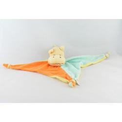 Doudou plat triangle hippopotame orange bleu jaune éponge