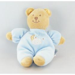 Doudou bébé ours bleu foulard vert AMTOYS BENGY 20 cm