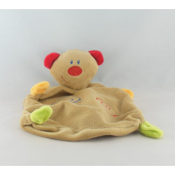 Doudou plat ours beige blanc rouge BABY CLUB