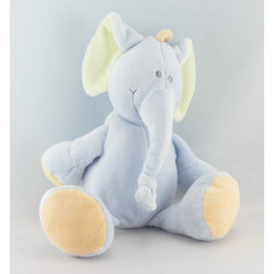 Doudou hochet éléphant bleu vert JOLLYBABY