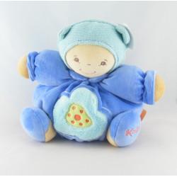 Doudou bébé ours beige pull vichy bleu couche KALOO