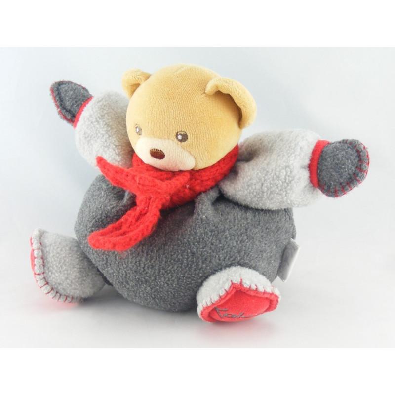 Doudou ours boule gris echarpe rouge KALOO