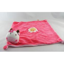 Doudou girafe vache rayé rose DPAM