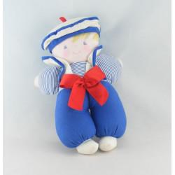 Doudou poupon bébé lutin rayé bleu marin COROLLE