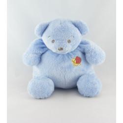 Doudou ours bleu papillon brodé écharpe jaune NOUNOURS 25 cm