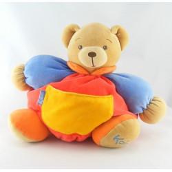Doudou ours patapouf rouge jaune anniversaire patchwork Kaloo