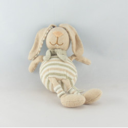 Doudou lapin beige rayé hochet DODO D'AMOUR MGM