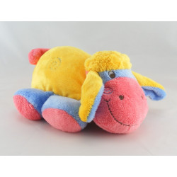 Doudou chenille rose jaune bleu ADDEX JUNIOR