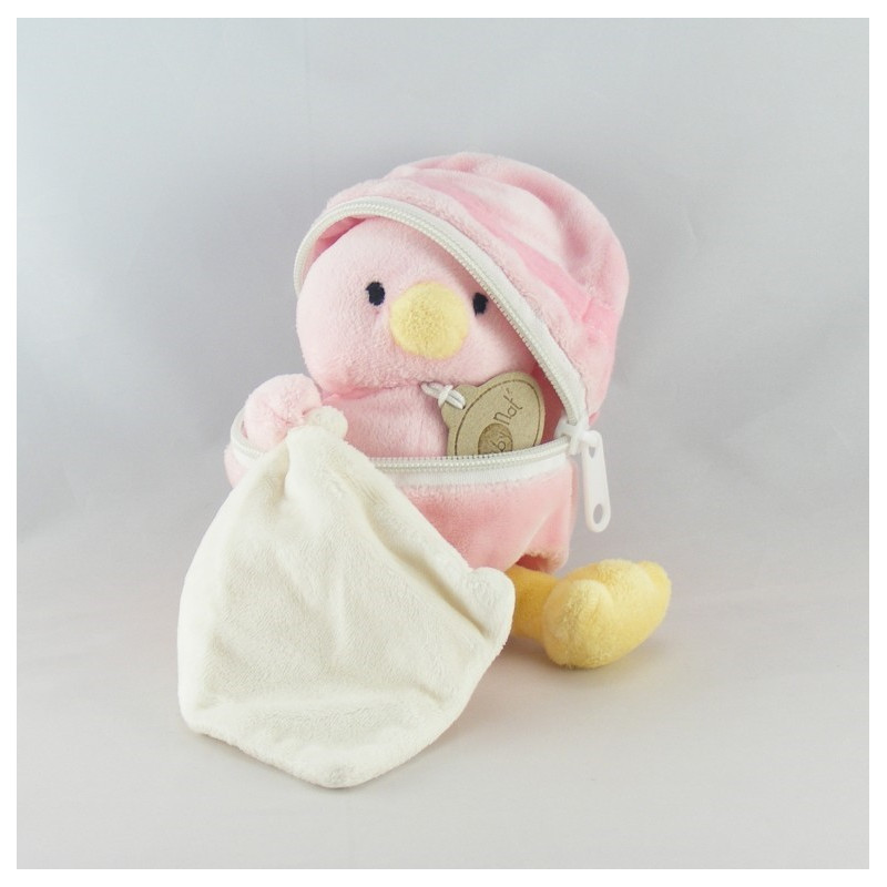 Doudou poussin rose coquille mouchoir BABY NAT