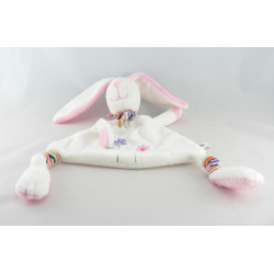 Doudou lapin blanc rose fleurs brodées BREMEL